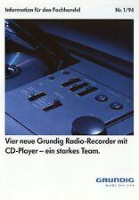 PROSPEKT 1994 GRUNDIG REGISTRATORE radio con CD Player Pubblicità opuscolo brochure