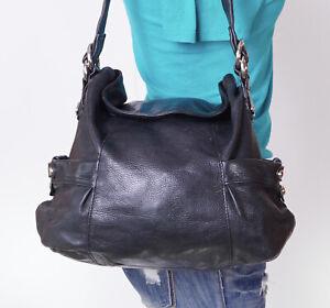 B. MAKOWSKY Medium Black  Leather Shoulder Hobo Tote Satchel Purse Bag