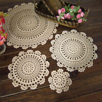 Set of 4 Round Placemats Dining Table Mats Vintage Flower Crochet Lace Doilies