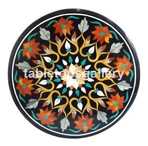 2.5' Marble Coffee Table Top with Carnelian Malachite Inlay Art Garden Deco B142