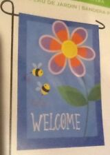 """Small 12 1/2"""" x 18"""" Bees Floral Spring Summe Theme Garden Art Flag New In Packag"""