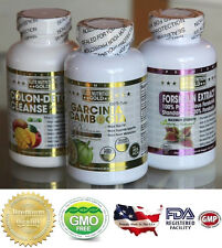 BUNDLE 95% HCA Garcinia Cambogia Forskolin Detox Extreme Complete Weight Loss