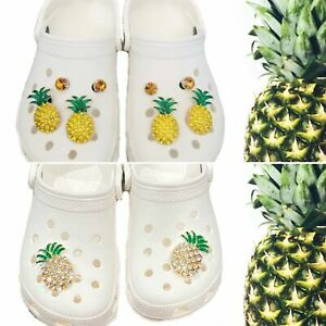 Shoe Charm Bling Gold & Silver Pineapple.