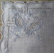 Vintage 1950s Hand Embroidered White Linen Women's Handkerchief