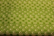 "100% COTTON FLANNEL BY THE YARD---42""--GREEN/WHITE GEOMETRICS ON GREEN"