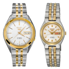 Seiko 5 Classic White Dial Couple's 2 tone Gold Plated Stainless Steel Watch Set