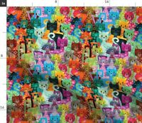 Colorful Cats Cat Lady Kitten Feline Multicolor Spoonflower Fabric by the Yard