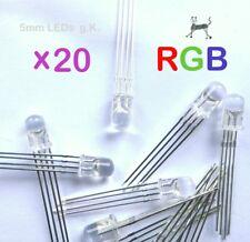 RGB LED 4-Pin (20 Stück) - 5mm klar - gemeinsame Kathode - DIY bis 20mA 3V