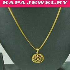 KAPA Real looking 22k gold plated necklace Indian Chain with Pendant b3 22 in