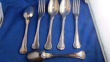 2 anciennes fourchettes 4 cuilleres metal argenté XIXe christofle  poinçonnees