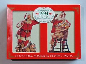 Coca Cola Nostalgia Playing Cards Limited Edition 1994 2 Decks NEW in Tin w/ Box