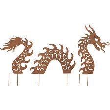 Art & Artifact Dragon Garden Stakes Set - Three Piece Lawn Ornament, Yard Decor