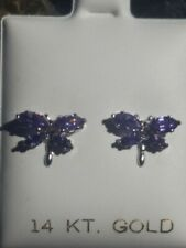 Amethyst Marquise Cut Dragonfly Earrings 14kt Solid White Gold