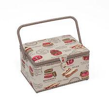 HobbyGift Premium Range Sewing Basket (large size) Patisserie Design HGL060
