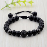 Fashion Men's Bright Zircon Micro Pave Black Natural Stone Round Beaded Bracelet