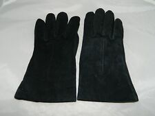 VTG Black Suede Leather Gloves Acrylic Blend Lining Size Large