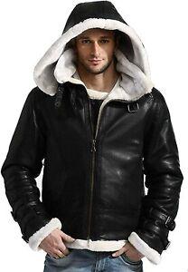 Men's Stylish B3 Bomber Full Fur Removable Hood Genuine Leather Jacket