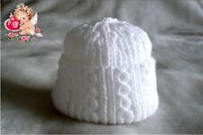 Hand Knitted Premature Baby Hat in Soft White Wool