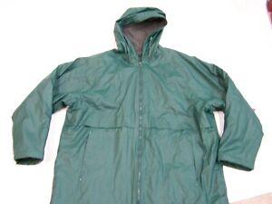 Misty Harbor Green Hooded Rain Slicker Waterproof Jacket Flannel Lined Men's L