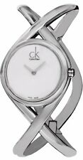 Calvin Klein Women's Enlace Silver Dial Stainless Steel Bangle Watch K2L24120