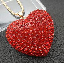 Women's Red Crystal Rhinestone Heart Pendant Betsey Johnson Necklace