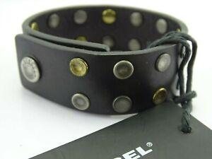 DIESEL A-DONE Herren Armband Leder Druckknopfverschluss Logo Unisex Bracelet