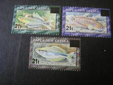 PAPUA NEW GUINEA, SCOTT # 876-878(3), 1995 SURCHARGED FISH ISSUE MNH