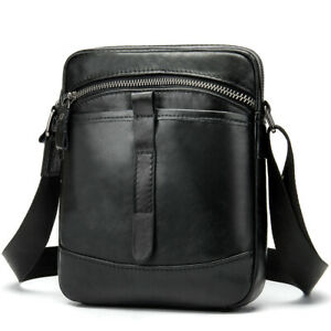 Stylish Mens Messenger Bags 100% Genuine Leather Front Pocket Crossbody Handbags