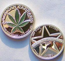1/10th Troy Oz Pure .999 solid silver  American Green Leaf Cannabis Bullion Coin