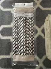 Black and White Striped Paper Straws (24 Count) Creative Converting NIP