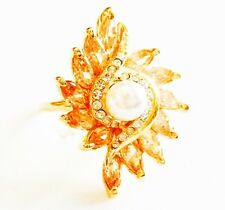 USA RING using Swarovski Crystal Adjustable Sizable 18K Rose Gold plated Pearl