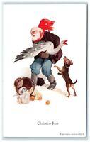 POSTCARD Vintage Christmas Brown Coat Santa Claus Goose Dog Basket Farming