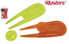 Masters Golf Neon Pitch Fork Divot Tool Repairer & Ball Markers X 2