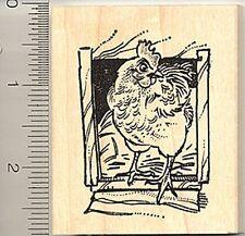 Chicken Rubber Stamp H7718 wood mounted hen