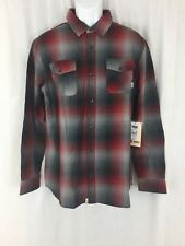 Men Vans long sleeve cotton plaid red grey flannel Shirt classic fit Size M New