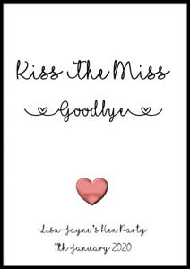 Kiss The Miss Goodbye Hen Party Accessories Bride To Be Personalised Do Gifts