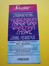 ^°^ Alte Eintrittskarte ANDERSSON BRUFORD WAKEMAN HOWE von 1989 Köln Ticket