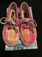 New In Box Girls Bahamas Pink & Yellow Plaid Sperry Top-Sider Shoes Size 9.5