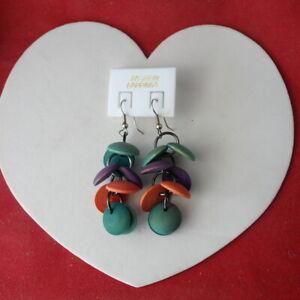 Pretty Hand Made Wood Earrings 4.5 Cm. Long + Hooks