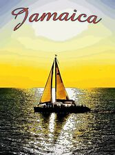 Jamaica Jamaican Caribbean Island Sailboat Sundown Travel Advertisement Poster