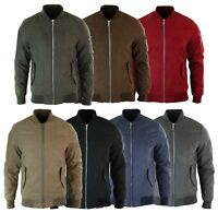 Mens MA1 PU Suede Bomber Varsity Jacket Quilted Smart Casual Harrington Coat