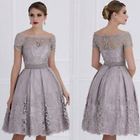 Silver Gray Mother Of the Bride Dresses Cocktail Gown Knee Length Women's Dress