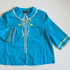 NEW NWT Bob Mackie Womens 3X Plus Size Blue Stretch Cotton Embroidered Jacket