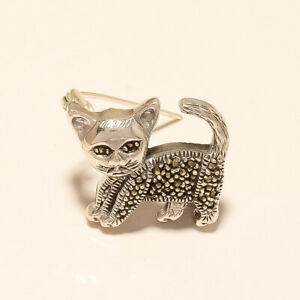 Marcasite Cute Pussy Cat Pin Brooch 925Sterling Silver Mother day Jewelry Gifts