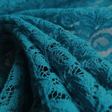 Teal Turquoise Blue Green Lace Dress Fabric - leaf pattern - sold by the metre