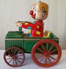 Crazy Clown Drive a Car Tin Toy Wind Mechanism Yoneya Yone Made in JAPAN Working