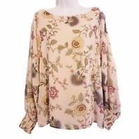 Vince Camuto Womens Blouse Pink Floral Long Sleeve Boat Neck Stretch Top M New
