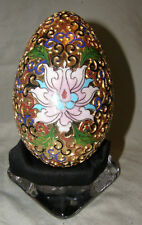 Vintage Chinese Cloisonne Goose Egg Hand Made 24ct Gold Plated Lotus Flowers