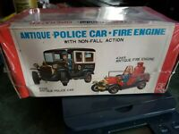VINTAGE Battery Operated  Antique  CITY POLICE CAR toy Bandai japan Display Box