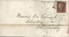 GB QV 1857 WRAPPER PENNY RED STAR 'IG' TO WHITEHAVEN FROM CARLISLE VIA GLASGOW